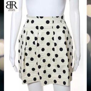 BANANA REPUBLIC Blk/Cream Polka Dot Pleated Skirt